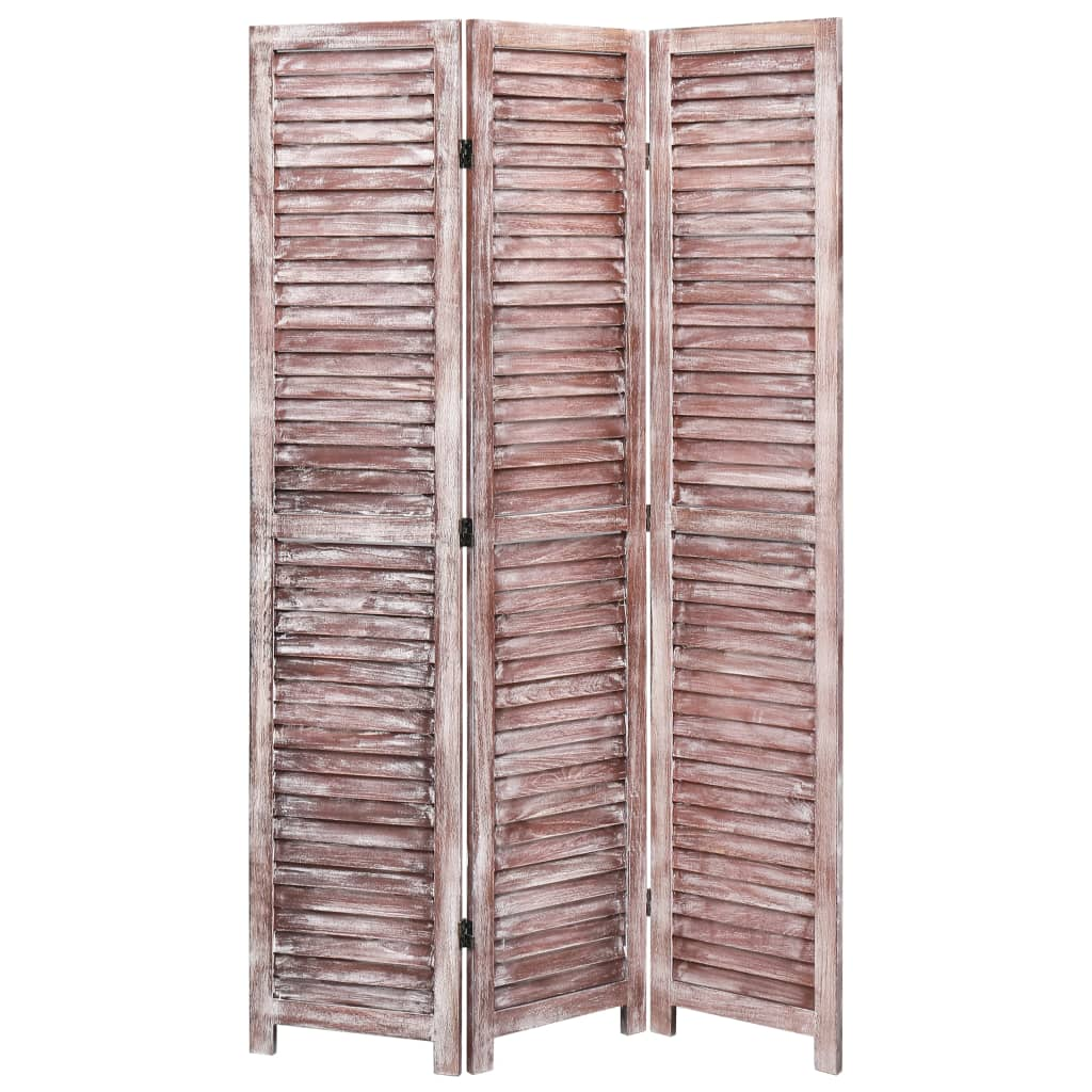 3dílný paraván hnědý 105 x 165 cm dřevo