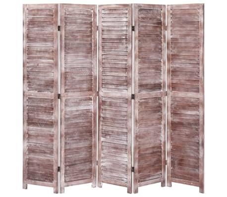 vidaXL Cloison de séparation 5 panneaux Marron 175x165 cm Bois[1/6]