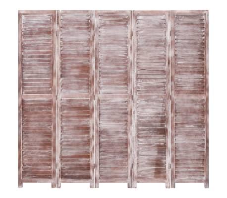 vidaXL Cloison de séparation 5 panneaux Marron 175x165 cm Bois[2/6]