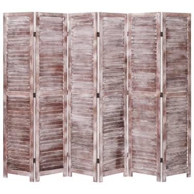 vidaXL Cloison de séparation 6 panneaux Marron 210x165 cm Bois[1/6]