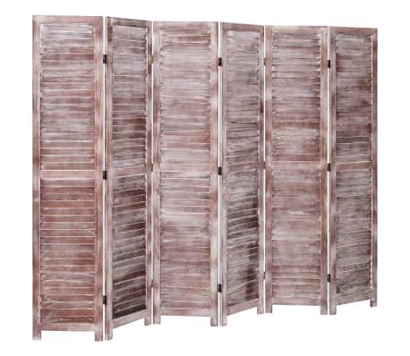 vidaXL Cloison de séparation 6 panneaux Marron 210x165 cm Bois[3/6]