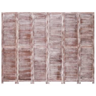 vidaXL Cloison de séparation 6 panneaux Marron 210x165 cm Bois[2/6]