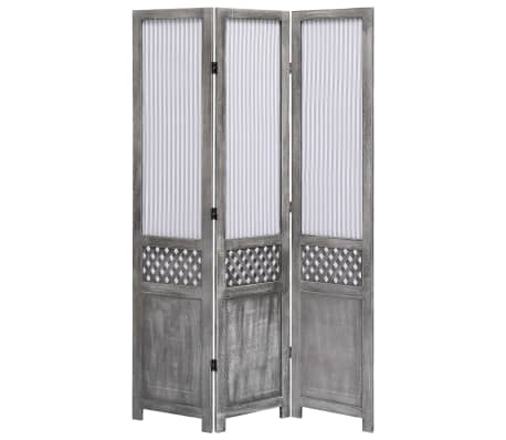 Vidaxl 3 Panel Room Divider Gray Fabric Privacy Panel Screen Space Partition Ebay