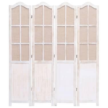 vidaXL Cloison de séparation 4 panneaux Blanc 140x165 cm Tissu[3/6]