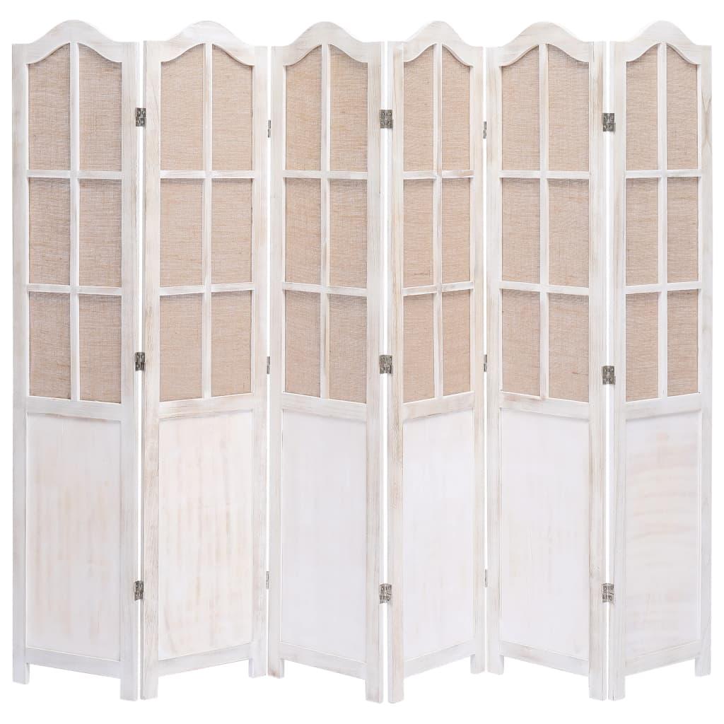 6 paneeliga sirm, valge, 210 x 165 cm, kangas