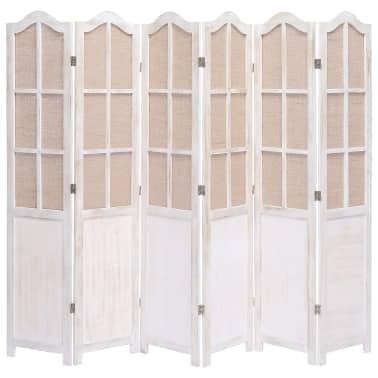 vidaXL Cloison de séparation 6 panneaux Blanc 210x165 cm Tissu[1/6]
