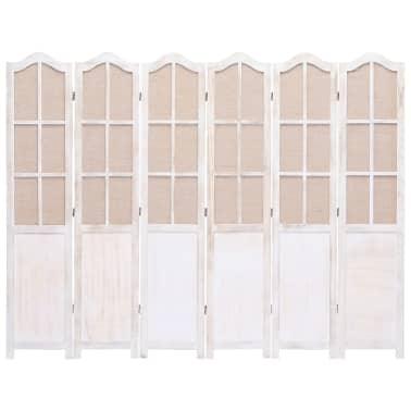 vidaXL Cloison de séparation 6 panneaux Blanc 210x165 cm Tissu[3/6]