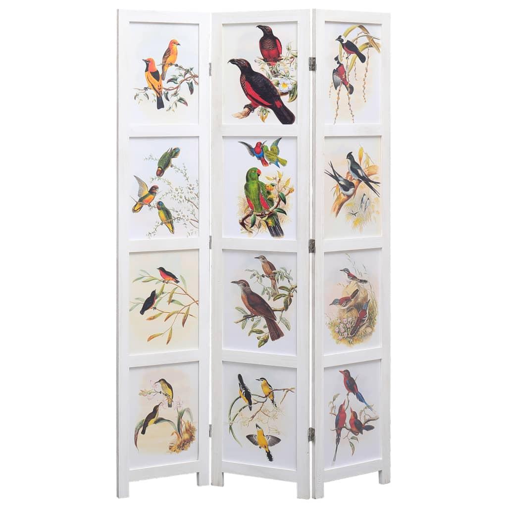 3 paneeliga sirm, valge, 105 x 165 cm, linnud