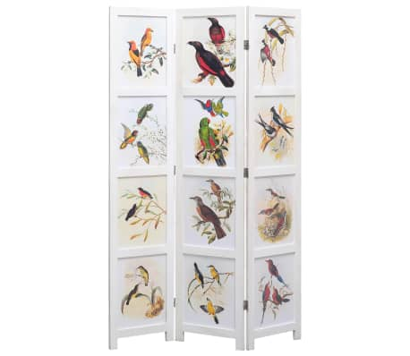 vidaXL 3dílný paraván bílý 105 x 165 cm ptáci