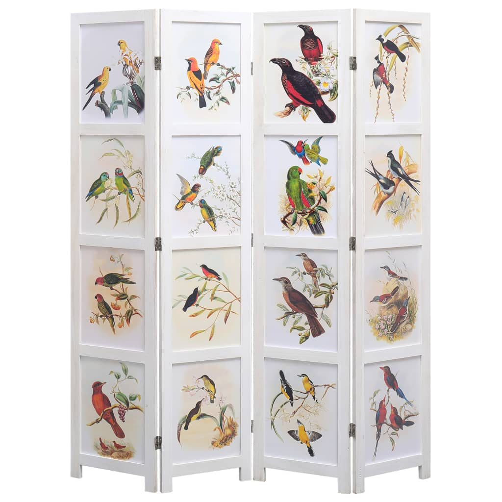 vidaXL Parawan 4-panelowy, biały, 140 x 165 cm, ptaki