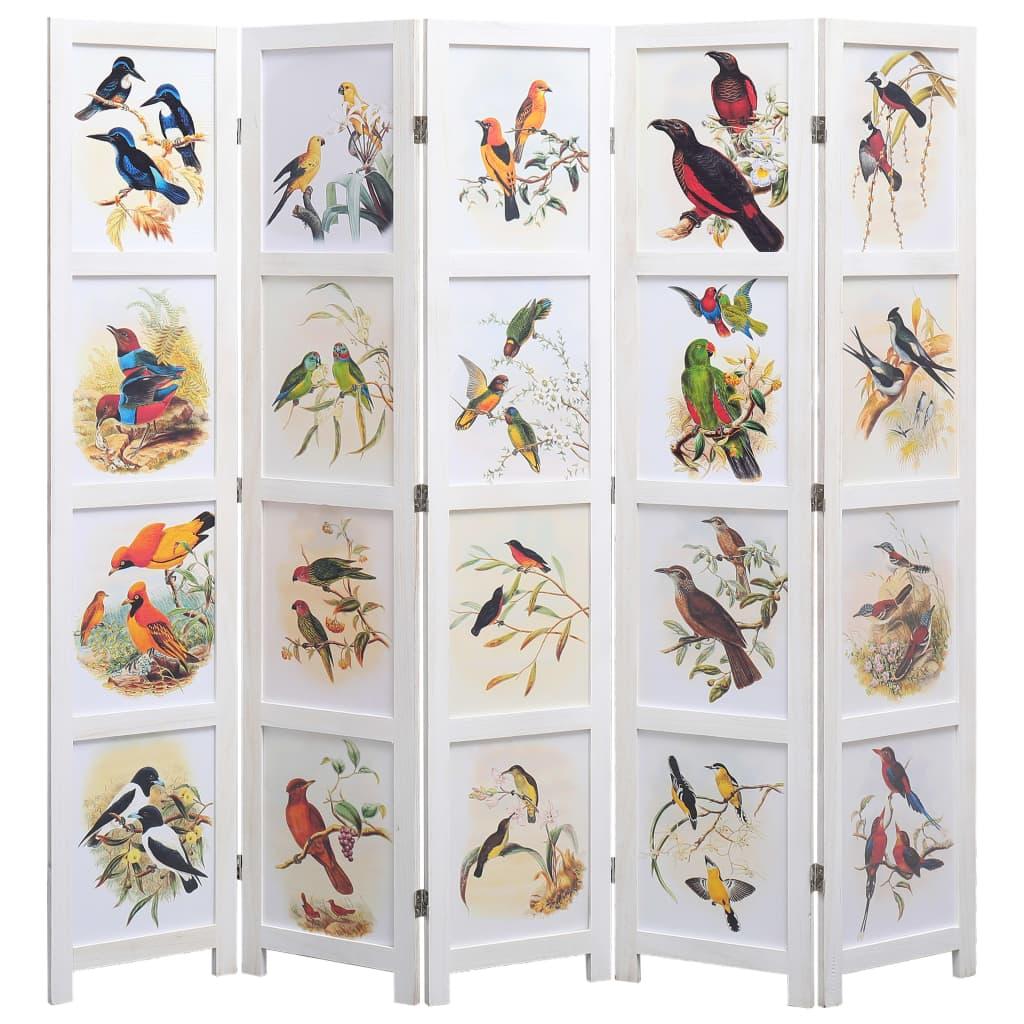 5 paneeliga sirm, valge, 175 x 165 cm, linnud