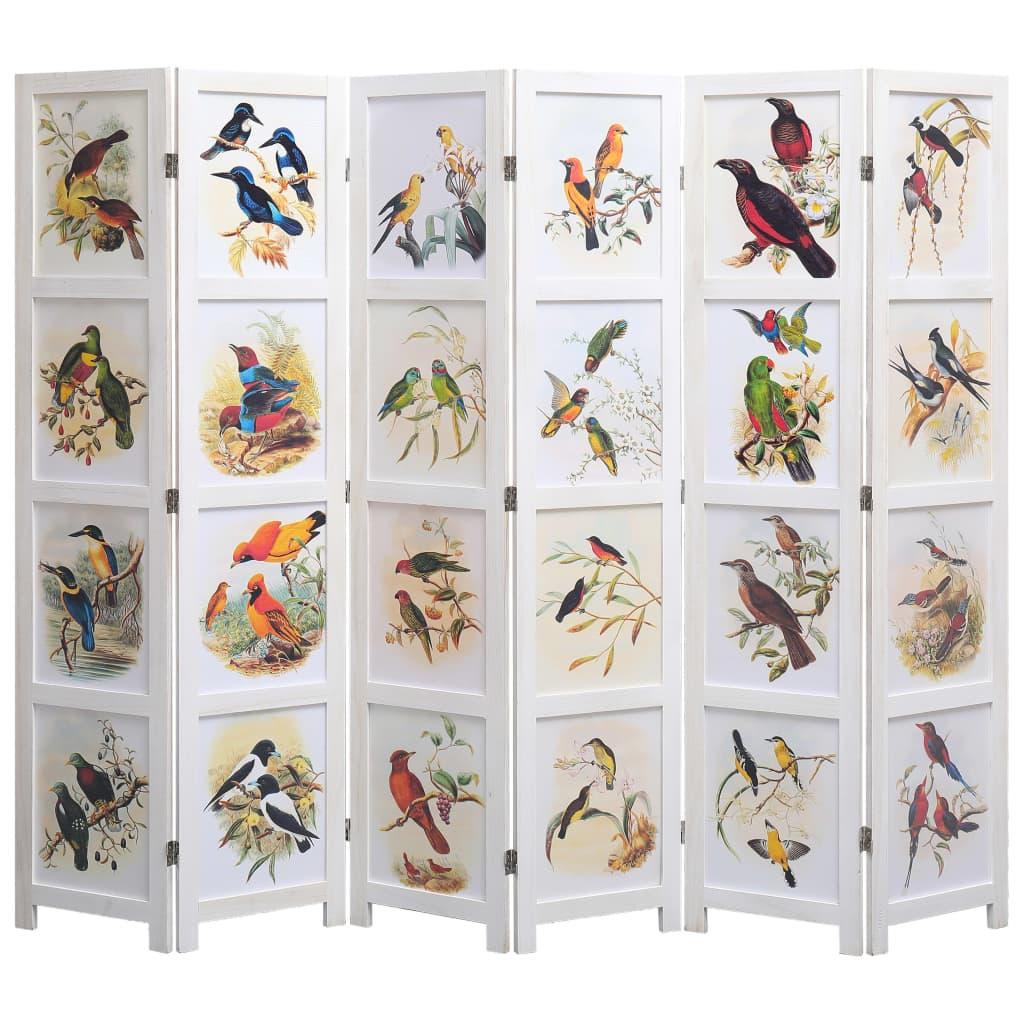 6 paneeliga sirm, valge, 210 x 165, linnud