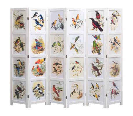 vidaXL Kamerscherm met 6 panelen vogel 210x165 cm wit