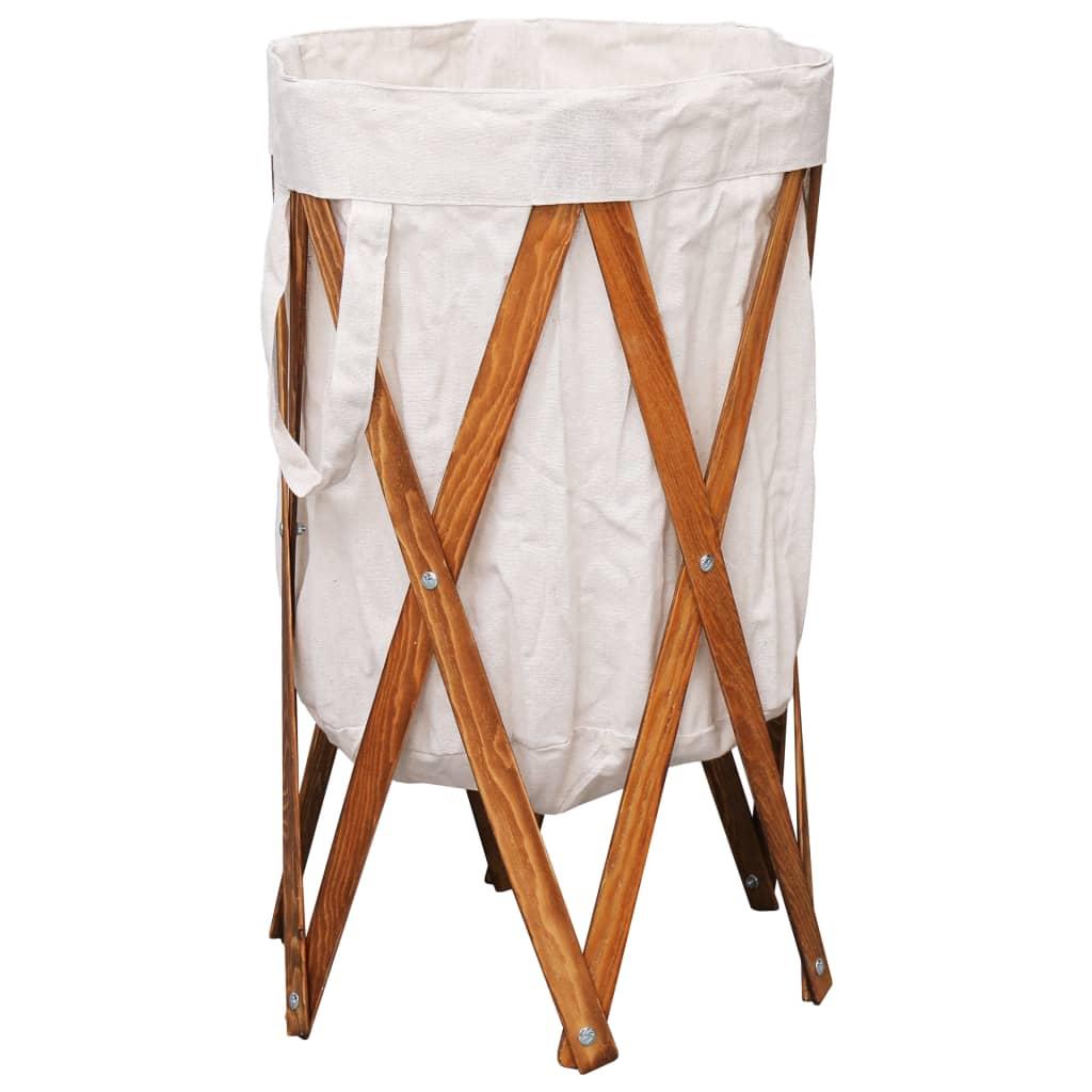 vidaXL Coș de rufe pliabil, crem, lemn și material textil imagine vidaxl.ro