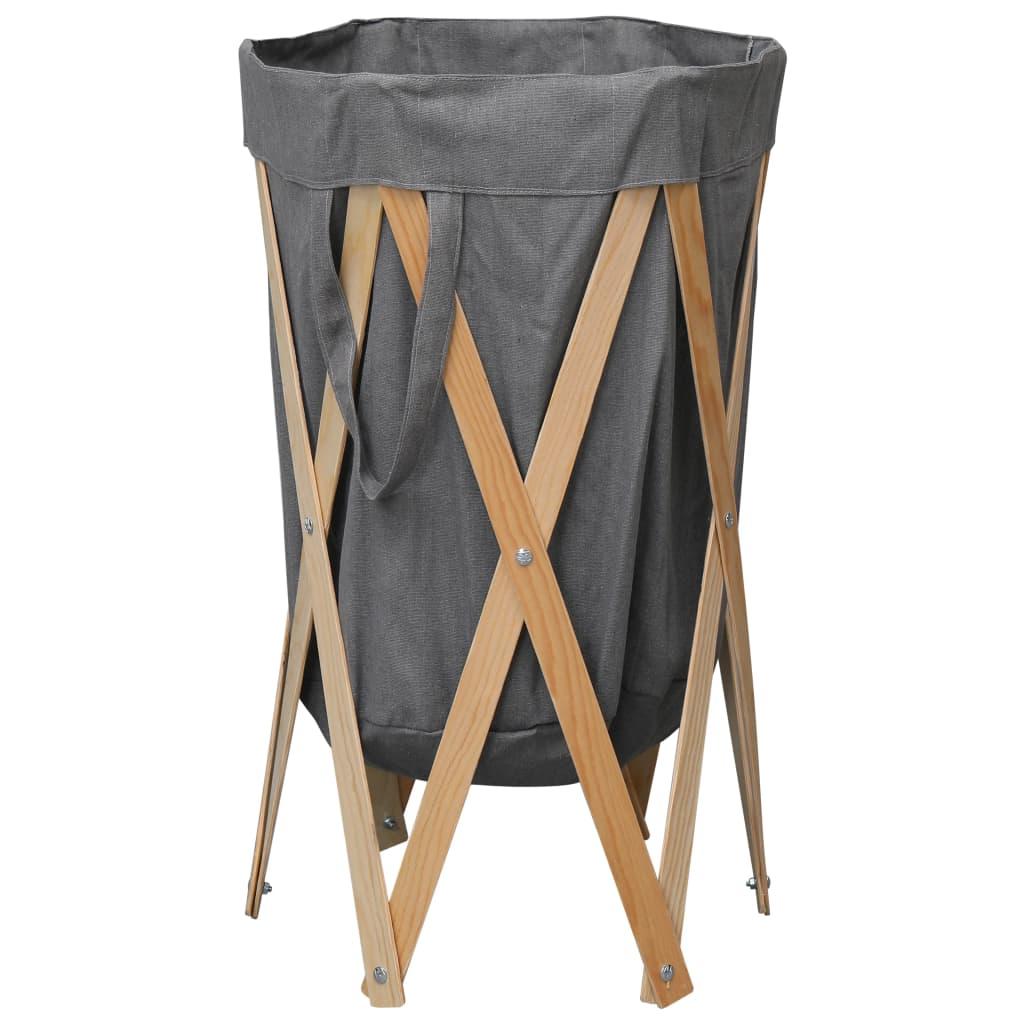 vidaXL Coș de rufe pliabil, gri, lemn și material textil imagine vidaxl.ro