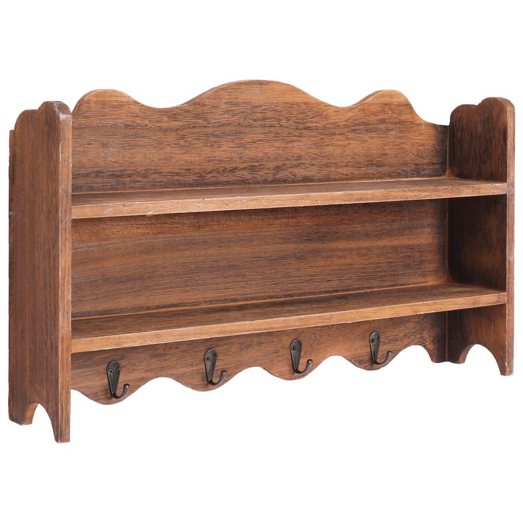 Nástěnný věšák hnědý 50 x 10 x 30 cm dřevo