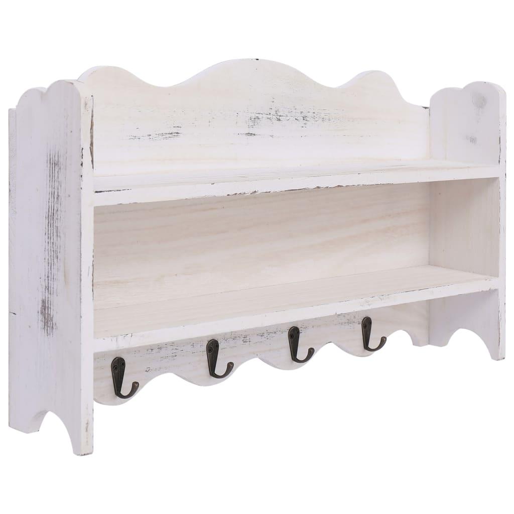 Nástěnný věšák bílý 50 x 10 x 30 cm dřevo