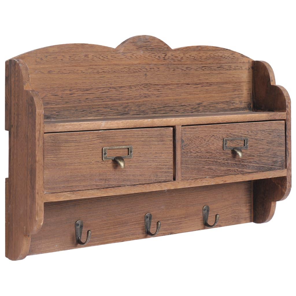 Nástěnný věšák hnědý 50 x 10 x 34 cm dřevo