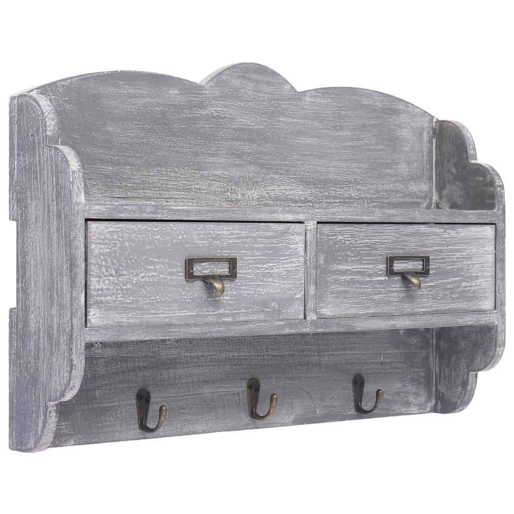 Nástěnný věšák šedý 50 x 10 x 34 cm dřevo