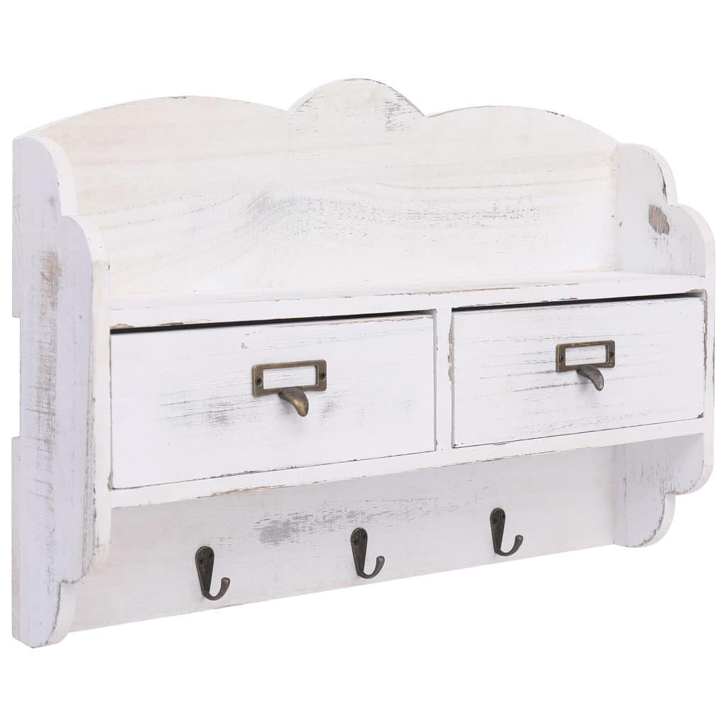 Nástěnný věšák bílý 50 x 10 x 34 cm dřevo