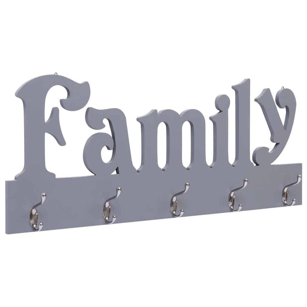Nástěnný věšák FAMILY šedý 74 x 29,5 cm