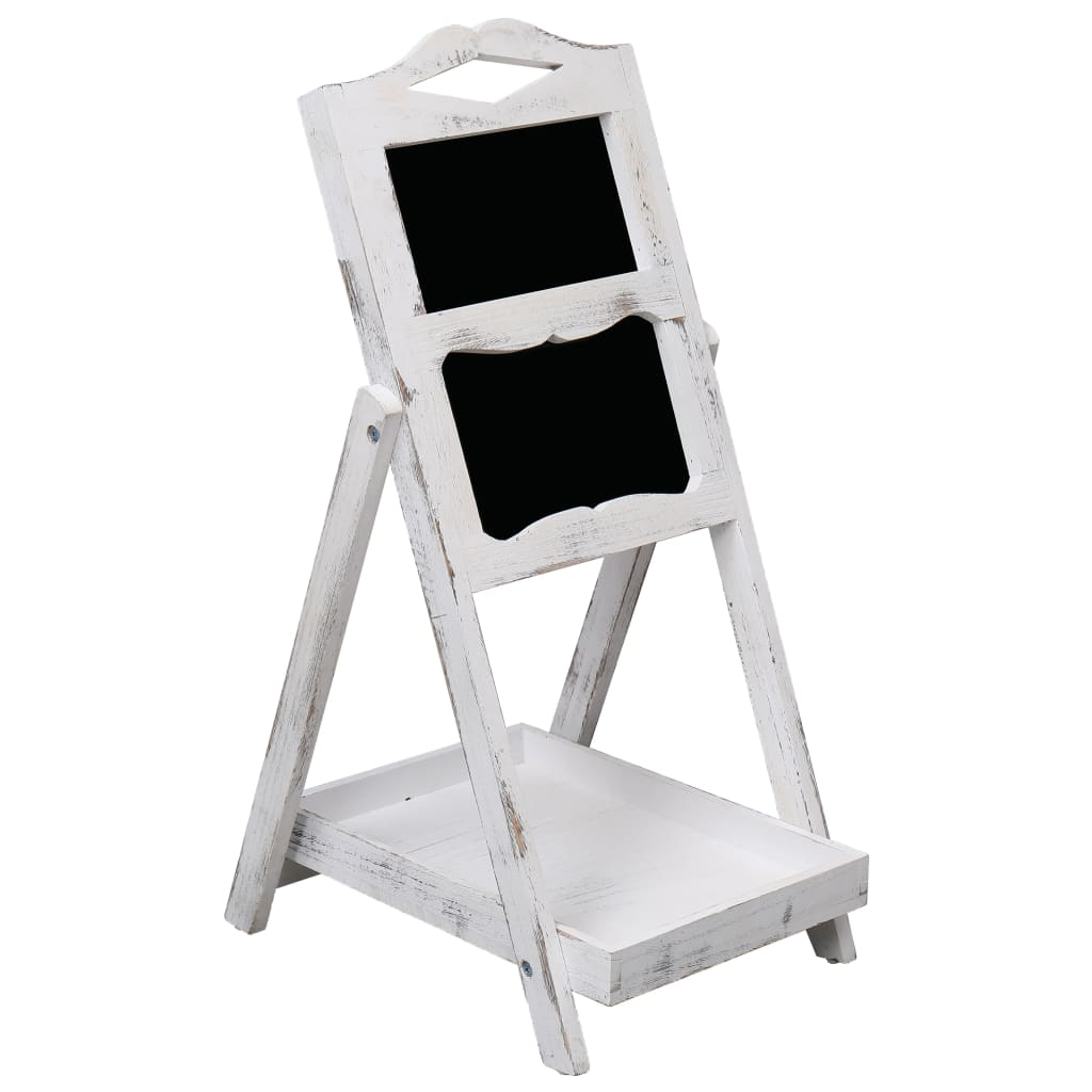 Stojan s tabulí bílý 33 x 39 x 75 cm dřevo