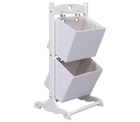 vidaXL Suport coșuri depozitare 2 niveluri alb 35x35x72 cm lemn[1/6]