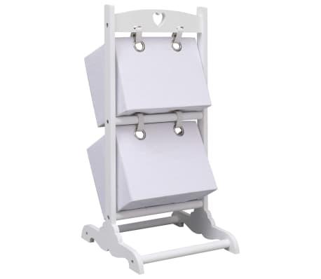 vidaXL Suport coșuri depozitare 2 niveluri alb 35x35x72 cm lemn[3/6]