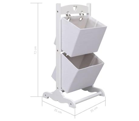 vidaXL Suport coșuri depozitare 2 niveluri alb 35x35x72 cm lemn[6/6]