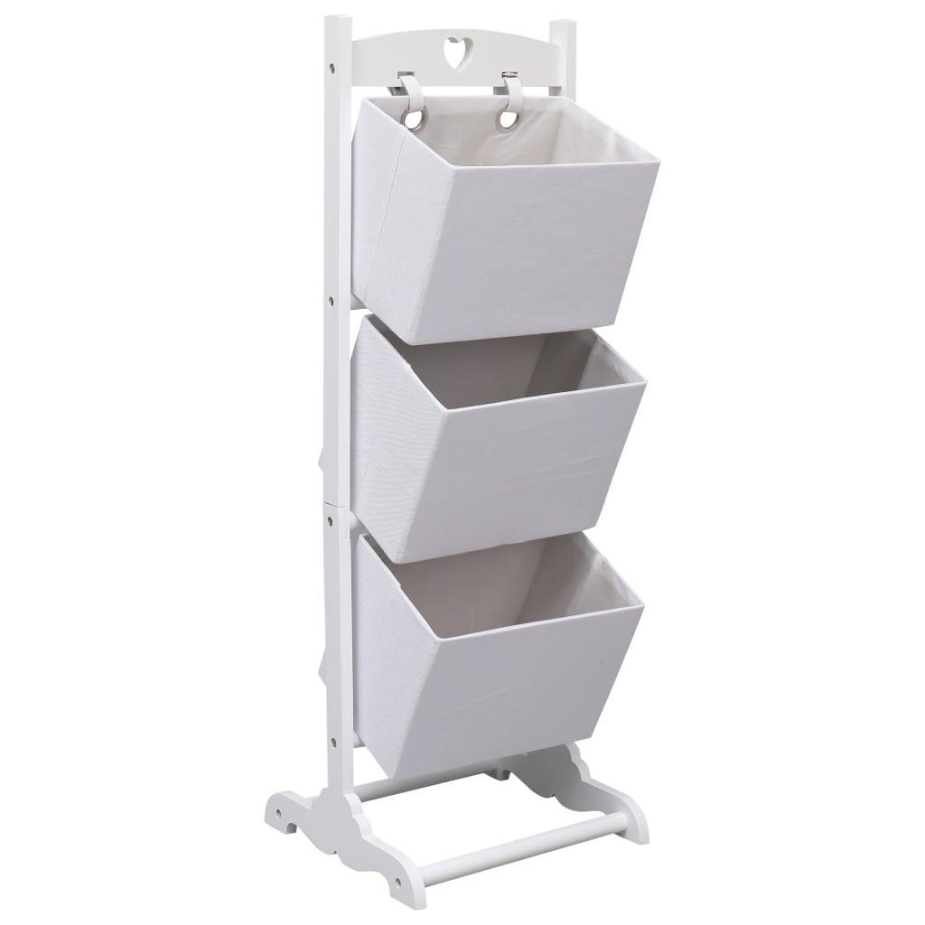 Regál se 3 košíky bílý 35 x 35 x 102 cm dřevo