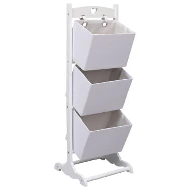 vidaXL Suport coșuri depozitare 3 niveluri alb 35x35x102 cm lemn[1/6]