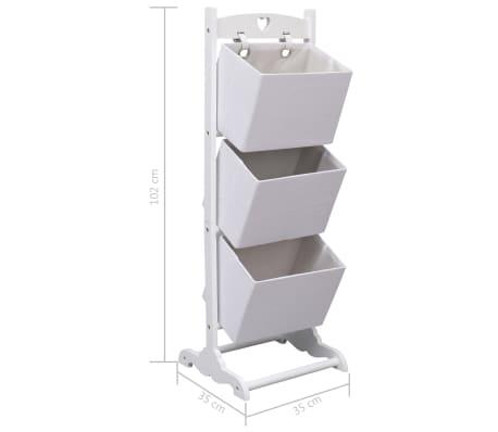 vidaXL Suport coșuri depozitare 3 niveluri alb 35x35x102 cm lemn[6/6]