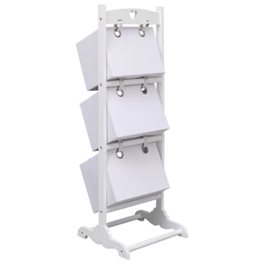 vidaXL Suport coșuri depozitare 3 niveluri alb 35x35x102 cm lemn[3/6]