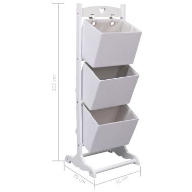 vidaXL Contenitore a 3 Livelli Bianco 35x35x102 cm in Legno[6/6]