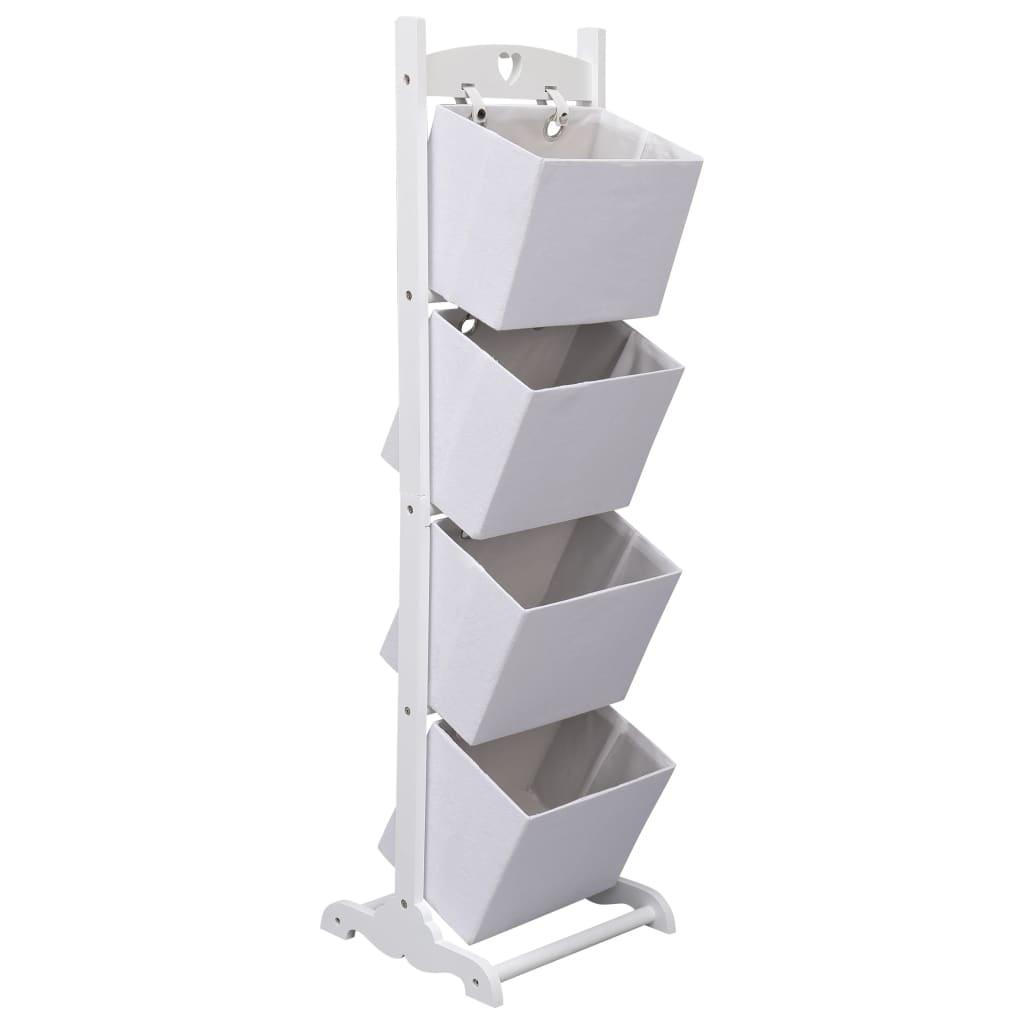 Regál se 4 košíky bílý 35 x 35 x 125 cm dřevo