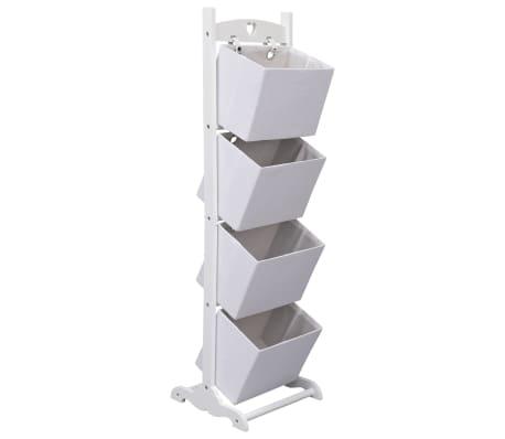 vidaXL Support à panier 4 niveaux Blanc 35x35x125 cm Bois