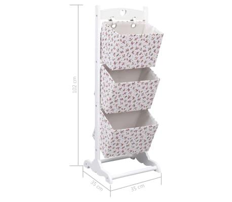 vidaXL Support à panier 3 niveaux Fleurs 35x35x102 cm Bois[7/7]