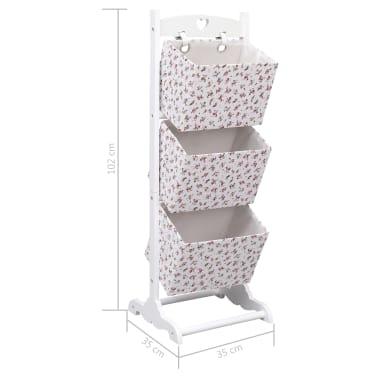 vidaXL Suport coșuri depozitare 3 niveluri 35x35x102 cm lemn floral[7/7]