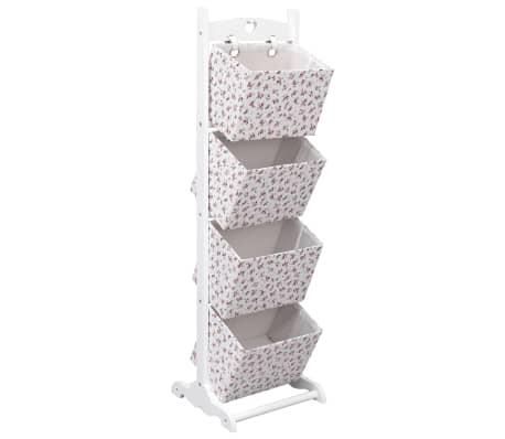 vidaXL Support à panier 4 niveaux Fleurs 35x35x125 cm Bois