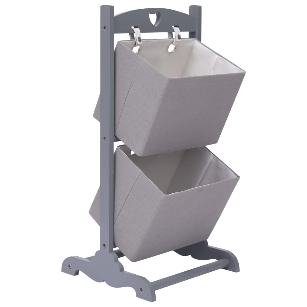 Regál se 2 košíky tmavě šedý 35 x 35 x 72 cm dřevo
