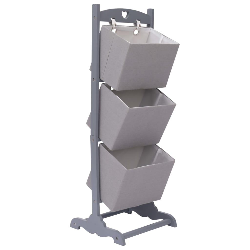 Regál se 3 košíky tmavě šedý 35 x 35 x 102 cm dřevo