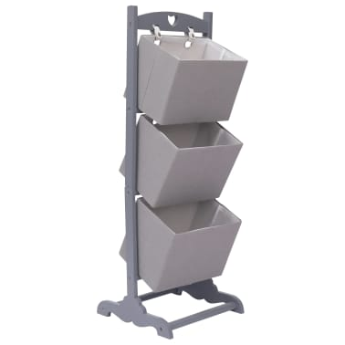vidaXL Suport coșuri depozitare 3 niveluri gri închis 35x35x102cm lemn[1/6]