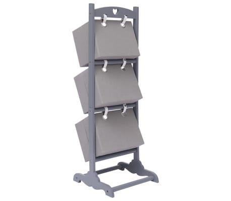 vidaXL Suport coșuri depozitare 3 niveluri gri închis 35x35x102cm lemn[3/6]