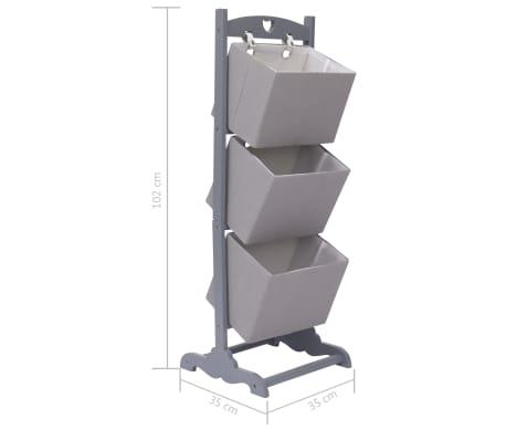 vidaXL Suport coșuri depozitare 3 niveluri gri închis 35x35x102cm lemn[6/6]