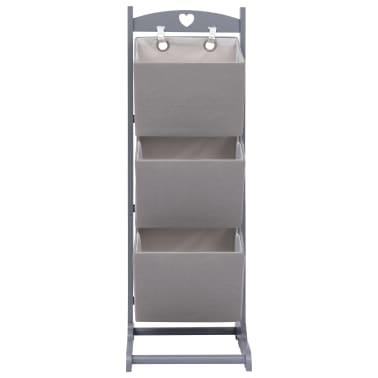 vidaXL Suport coșuri depozitare 3 niveluri gri închis 35x35x102cm lemn[2/6]