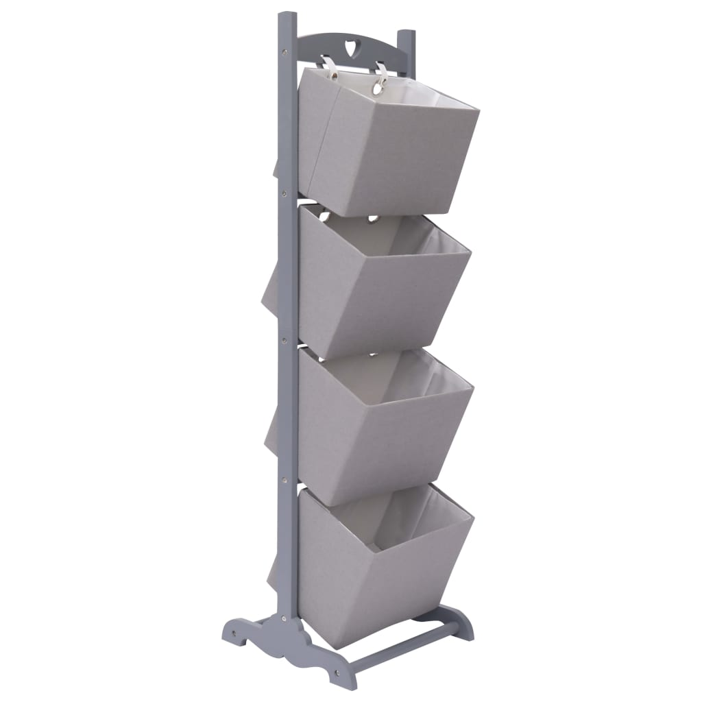 Regál se 4 košíky tmavě šedý 35 x 35 x 125 cm dřevo
