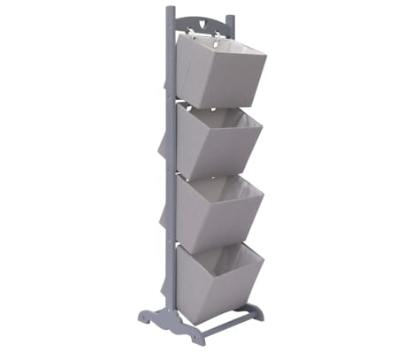 vidaXL Suport coș depozitare 4 niveluri gri închis 35x35x125 cm lemn[1/6]