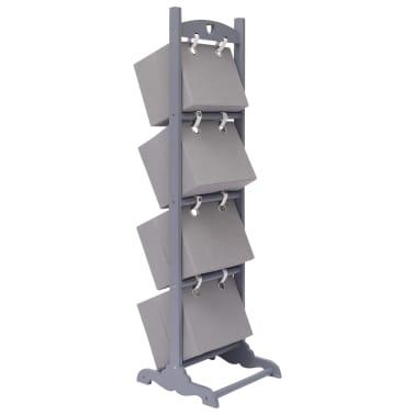 vidaXL Suport coș depozitare 4 niveluri gri închis 35x35x125 cm lemn[3/6]