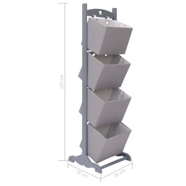 vidaXL Suport coș depozitare 4 niveluri gri închis 35x35x125 cm lemn[6/6]