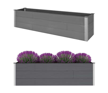 vidaXL Garden Raised Bed Grey 200x50x54 cm WPC
